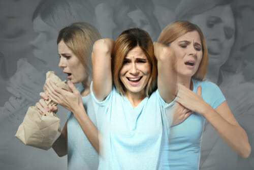 Image of woman struggling with panic for our FAQ on Panic Disorder and PTSD
