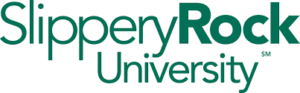 A logo for Slippery Rock University for our ranking of the top 20 onilne graduate certificates for ABA